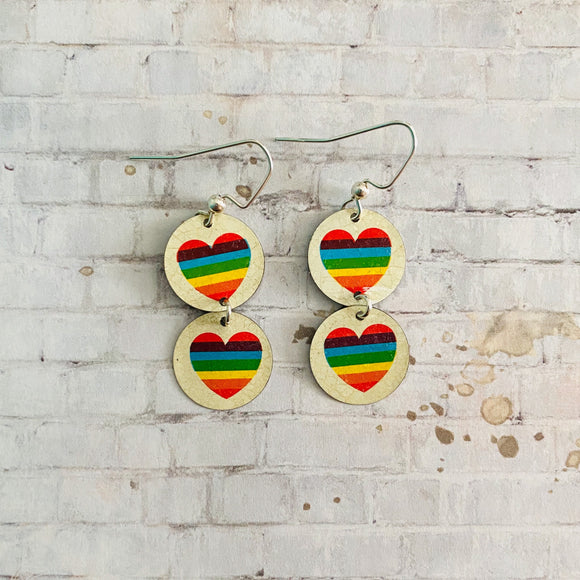 Two Tiered Small Circle Rainbow Heart Tin Earrings