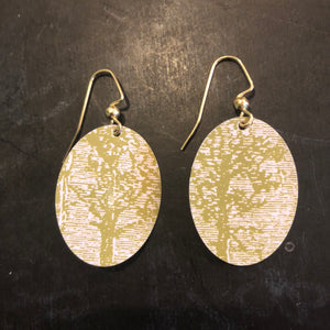 Small Green Tree Oval Tin Earrings