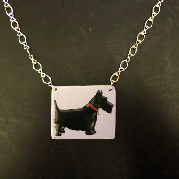 Scottie with Collar Tin Necklace