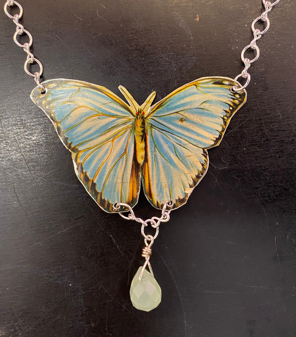 Blue Morpho Butterfly Tin Necklace with Bead