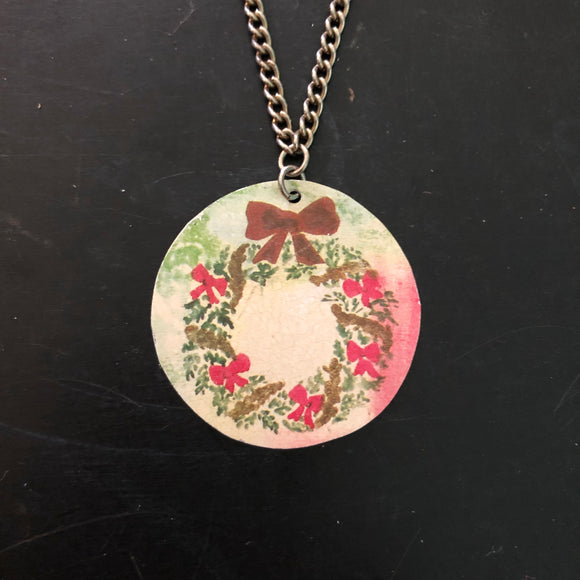 Christmas Wreath Tin Necklace