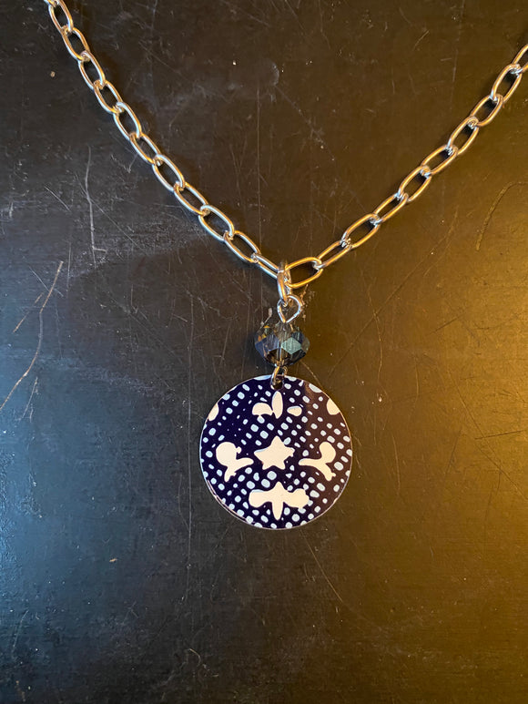 Navy Filigree Tin Necklace with Blue Beads