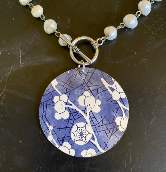 Blue with White Cherry Blossom Circle Tin Necklace with Freshwater Pearls
