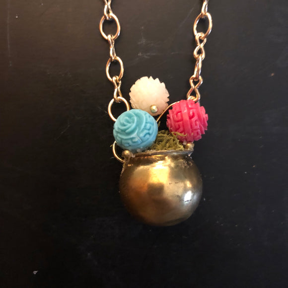 Carved Flower Beads in a Tin Pull Necklace