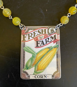 Farm Fresh Corn Tin Necklace