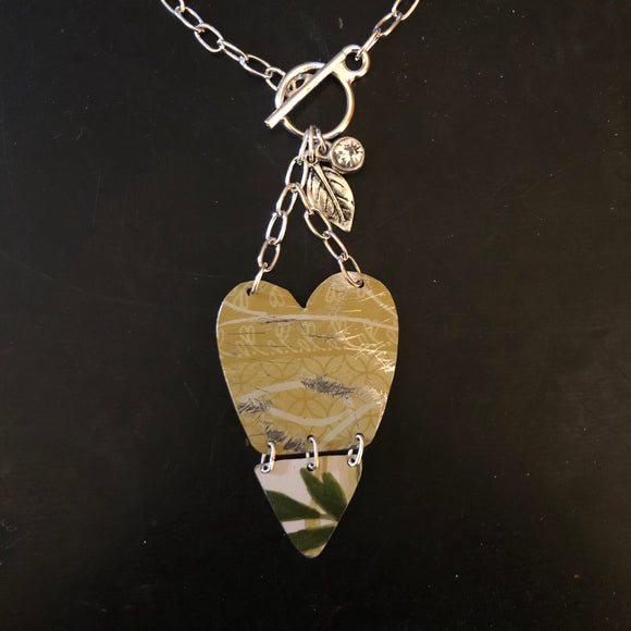 Layered Green and Leaves Heart Tin Necklace with Leaf Charm