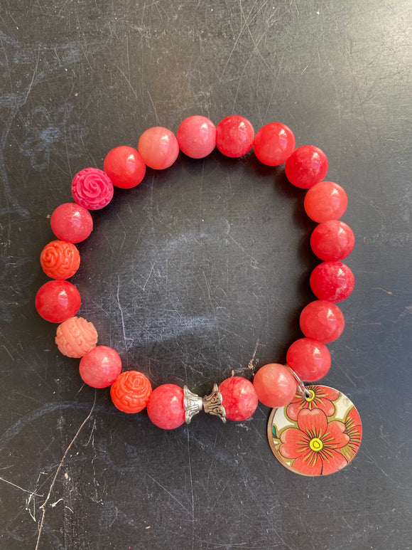 Pink Stone with Resin Floral Beads Tin Charm Bracelet
