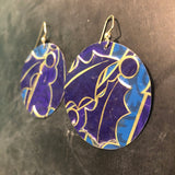 Large Blue and Purple Poinsettia Tin Earrings
