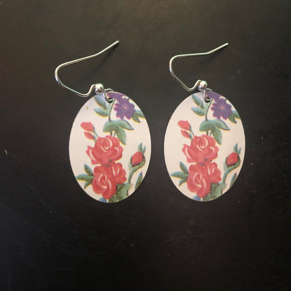 White with Red Roses Oval Tin Earrings