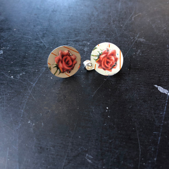 Post Pink Roses Tin Earrings