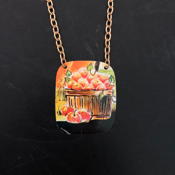 Apple Basket Tin Necklace