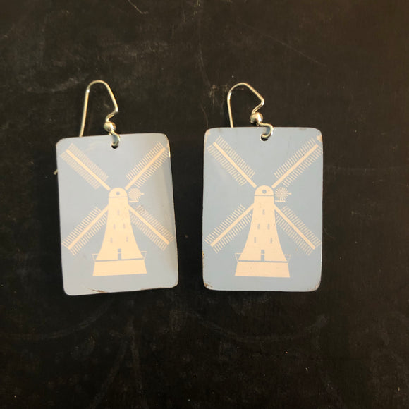 Light Blue Tin Earrings with Windmills