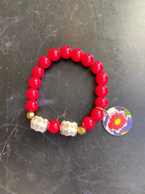 Red Glass and Gold Floral Bead Tin Charm Bracelet