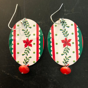 Christmas Flower Oval Tin Earrings with Bead