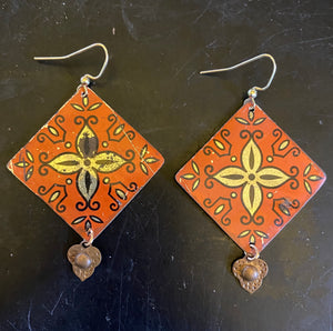 Orange and Gold Filigree Tin Earrings