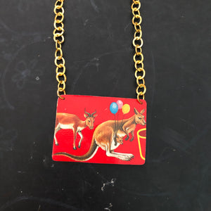 Kangaroo Animal Cracker Tin Necklace