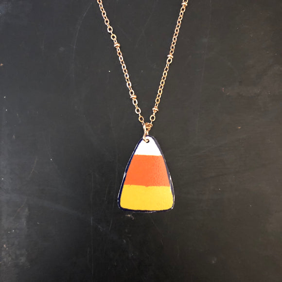 Candy Corn Tin Necklace