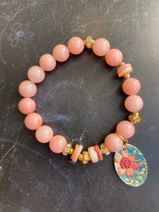 Pink Quartz and Shell Bead with Gold Tin Charm Bracelet