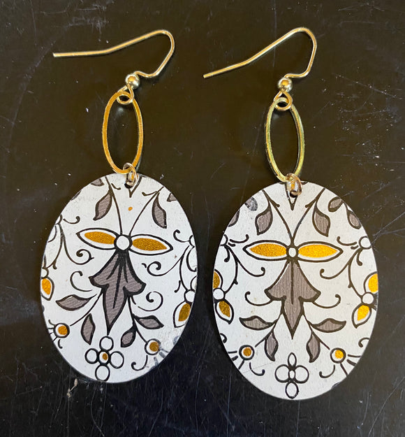 Grey Filigree and Floral Tin Earrings