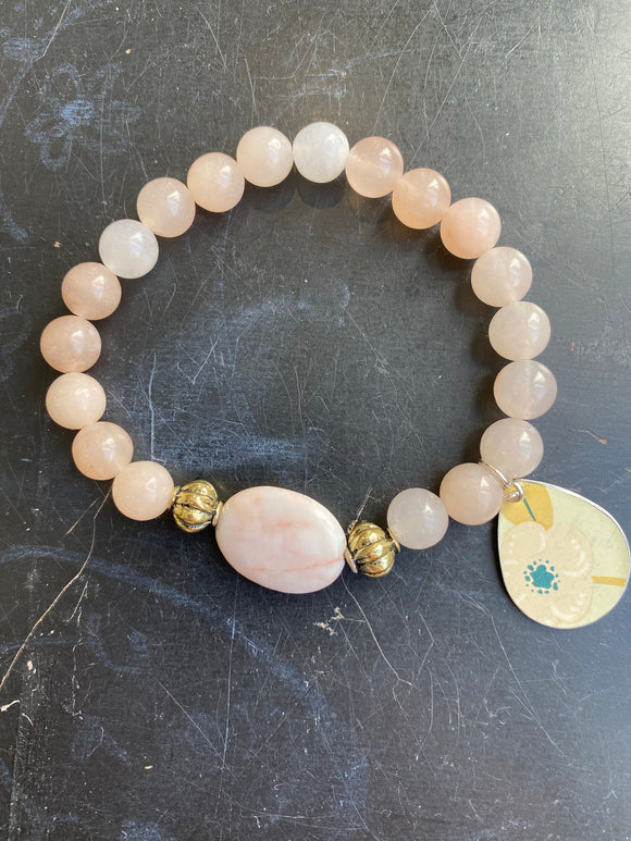 Pink Quartz with Pink Stone Tin Charm Bracelet