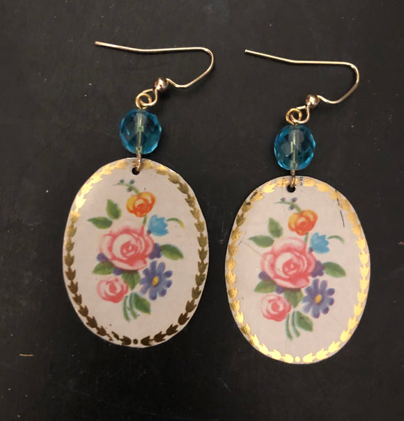 Pink Rose Floral Oval Tin Earrings with Beads