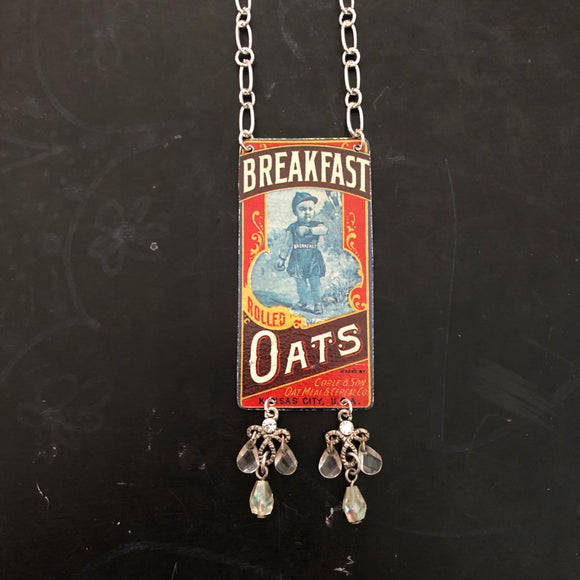 Breakfast Oats Tin Necklace