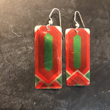 Red, Green and Silver Modern Christmas Tin Earrings