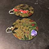 Large Golden Floral Circles Tin Earrings