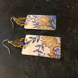 Yellow and Blue Floral Tin Earrings