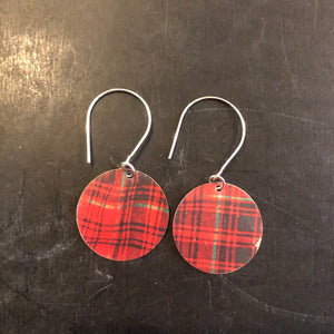 Small Circle Walker Plaid Tin Earrings