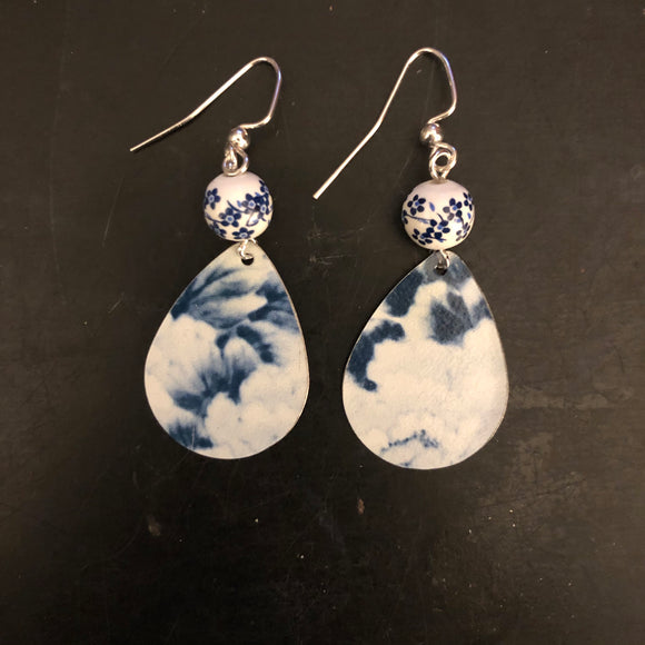 Navy Blue and White Abstract Floral Tin Earrings with Bead