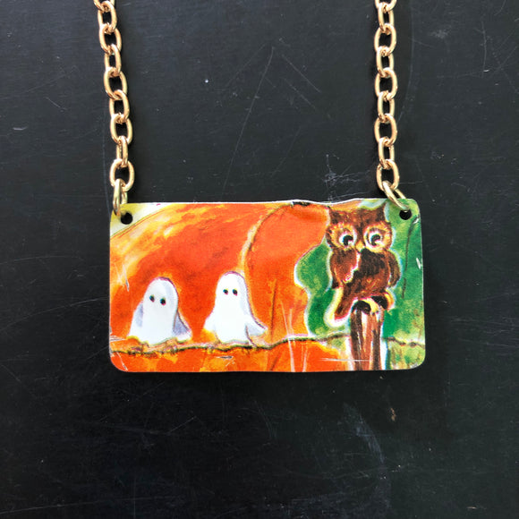 Ghosts and Owl Bar Tin Necklace