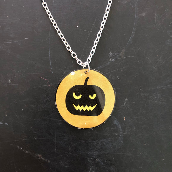 Scary Pumpkin Circle Tin Necklace