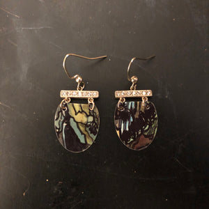 Stained Glass Inspired Tin Earrings with Rhinestones