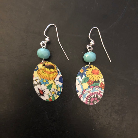 Multicolored Floral Tin Earrings with Turquoise Beads