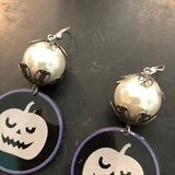Scary Pumpkin Tin Earrings with Faux Pearl Bead