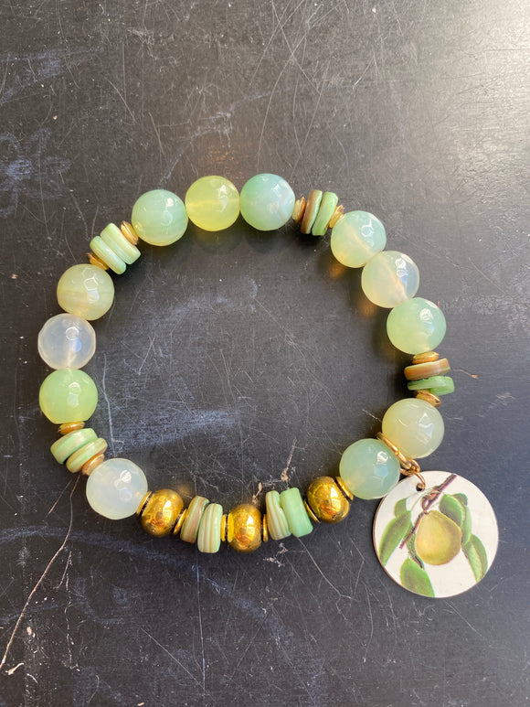 Jade and Quartz with Shell Bead and Gold Tin Charm Bracelet
