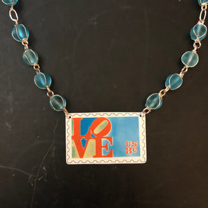 Love Stamp Beaded Blue Tin Necklace