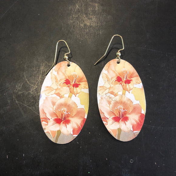 Oval Lillies Tin Earrings
