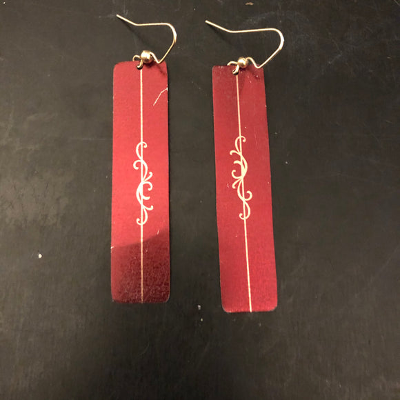 Thin Burgundy Rectangle with Gold Filigree Tin Earrings