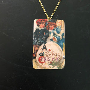 Joyful Christmas Tin Necklace