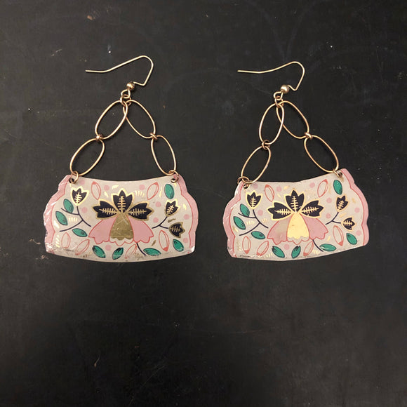 Large Pink, Navy, Green and Gold Floral Tin Earring