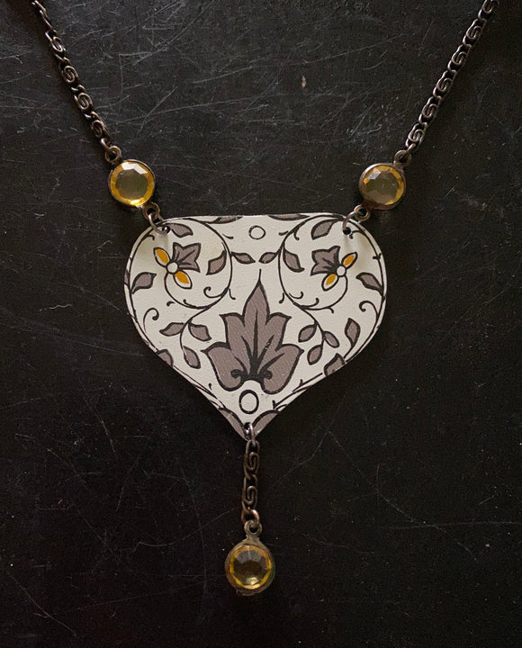 Gold and Grey Filigree Tin Necklace with Beads