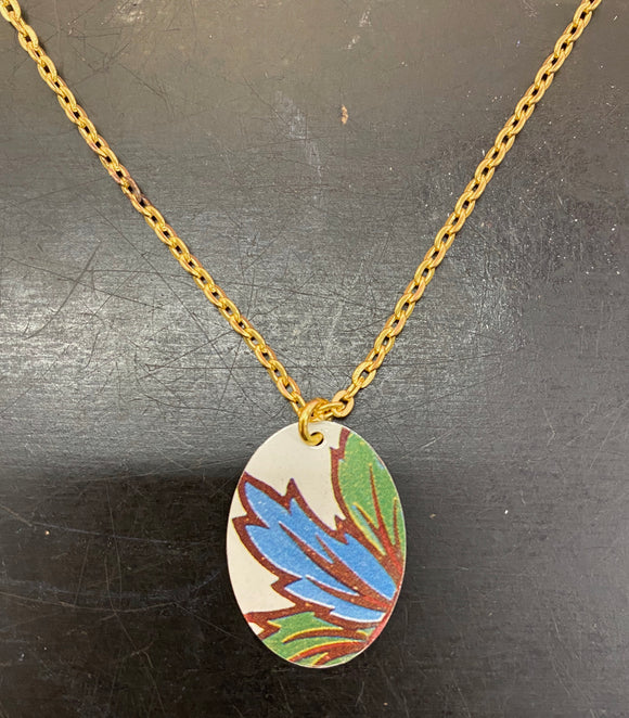 Blue Foliage Oval Tin Necklace