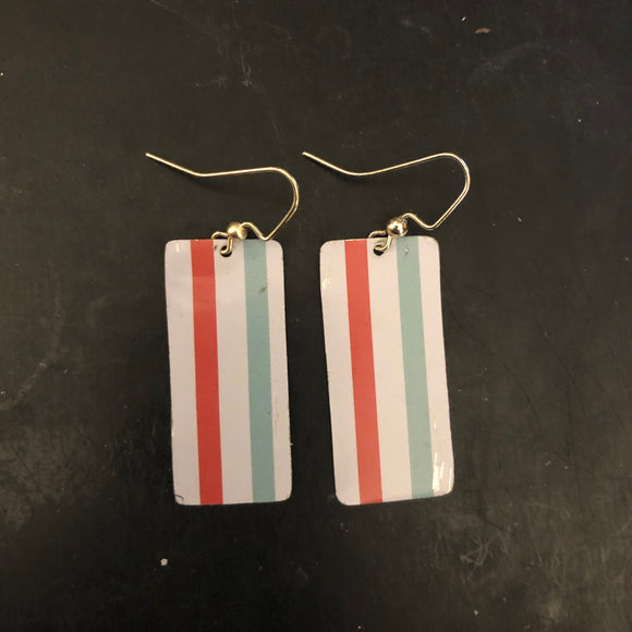 Rectangle Striped Tin Earrings