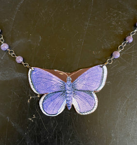 Purple Butterfly Tin Necklace