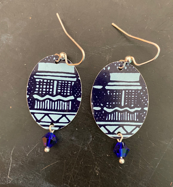 Royal and Navy Blue Pagoda Tin Earrings with Beads