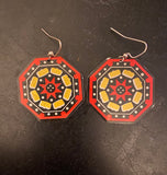 Black Red and Yellow Octagon Tin Earrings