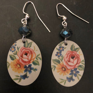 Rose and Sunflower Floral Tin Earrings with Beads