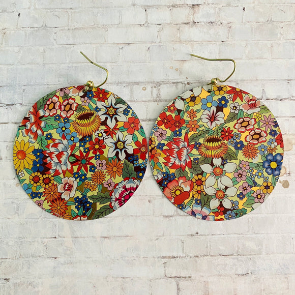 Multicolored Floral Circle Tin Earrings
